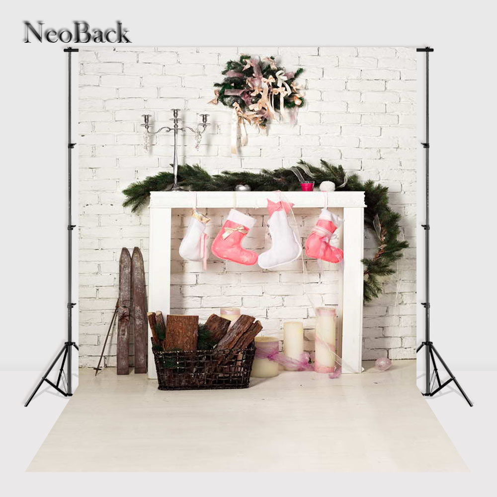 NeoBack Vinyl Cloth Christmas Photography Backdrops Christmas Fire Place children Photo Background Photo studio Backdrop P1065 ...