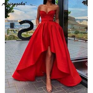 Image 3 - פשוט אדום מתוקה ערב מסיבת שמלת סאטן גבוה נמוך נשף שמלה עם כיסים בתוספת גודל שמלות נשף 2019 ארוך