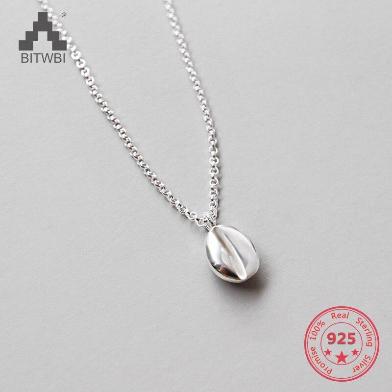 100% Sterling Silber Schmuck Kaffee Bean Anhänger & Halskette Für Frauen Nizza Geschenk Geschickte Herstellung