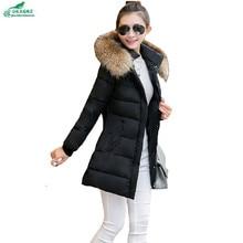 OKXGNZ Зима корея 2017 Капюшоном воротник тонкий Большой ярдов Женщин Хлопка куртка Чистый цвет Теплый Женщин Воротник Пальто С большим капюшоном QQ0103