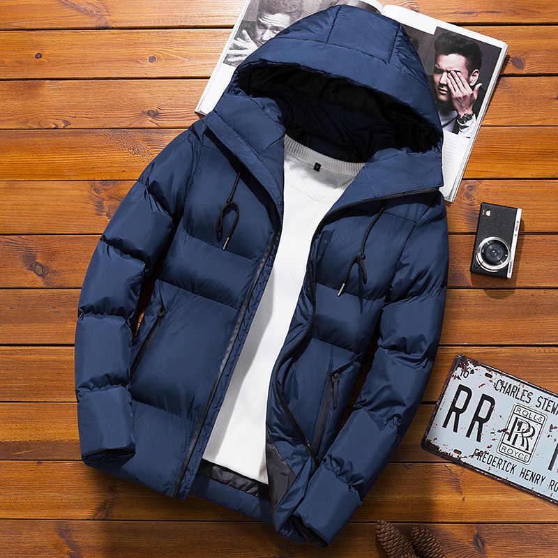 2018 新ブランド冬のジャケット男性服カジュアルフード付きの襟ファッション冬コート男性パーカー上着暖かいオーバーコートスリムフィット 4XL