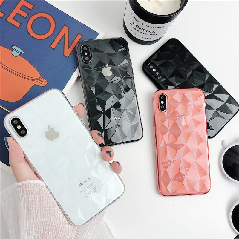 LOVECOM 3D Diamond Pattern Phone Case For iPhone XS Max XR X XS 7 8 6 6s Plus Luxury Ultra Thin Soft TPU Cases Back Cover Coque