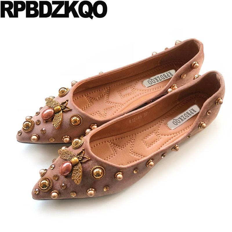 Women Dress Shoes Designer Crystal Suede Bee European -7765