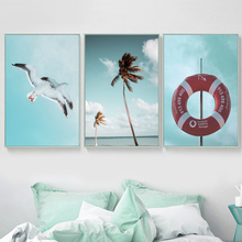 Coconut Tree Sea Mew Wall Art Canvas Painting Nordic Posters And Prints Wall Pictures For Living Room Scandinavian Home Decor stylish zebra and sea mew pattern removeable wall stickers