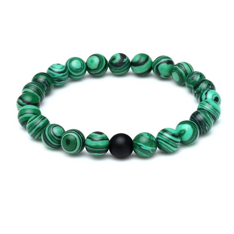 MOROW Creative Natural Malachite Bracelets Frosted Agates Round Buddha Bead Stretch Women Mens Charm Bracelet Jewelry for Gift