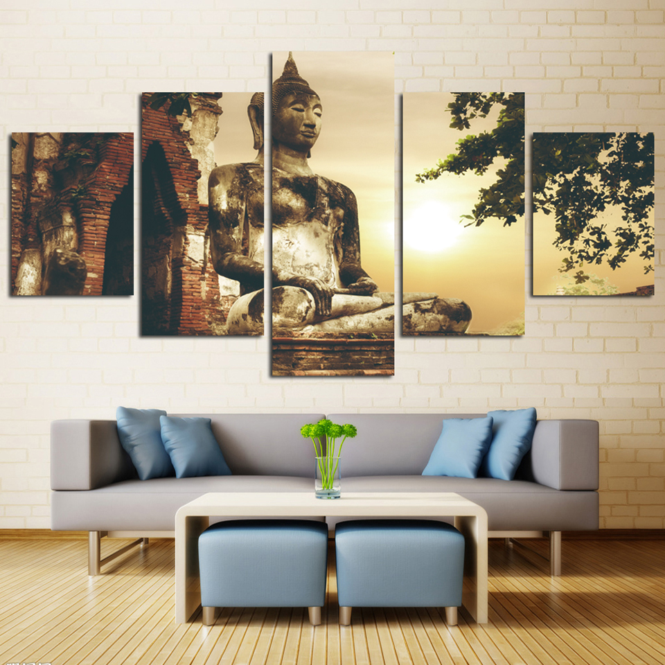 Poster For Living Room Modern HD Printed 5 Panel Buddhism