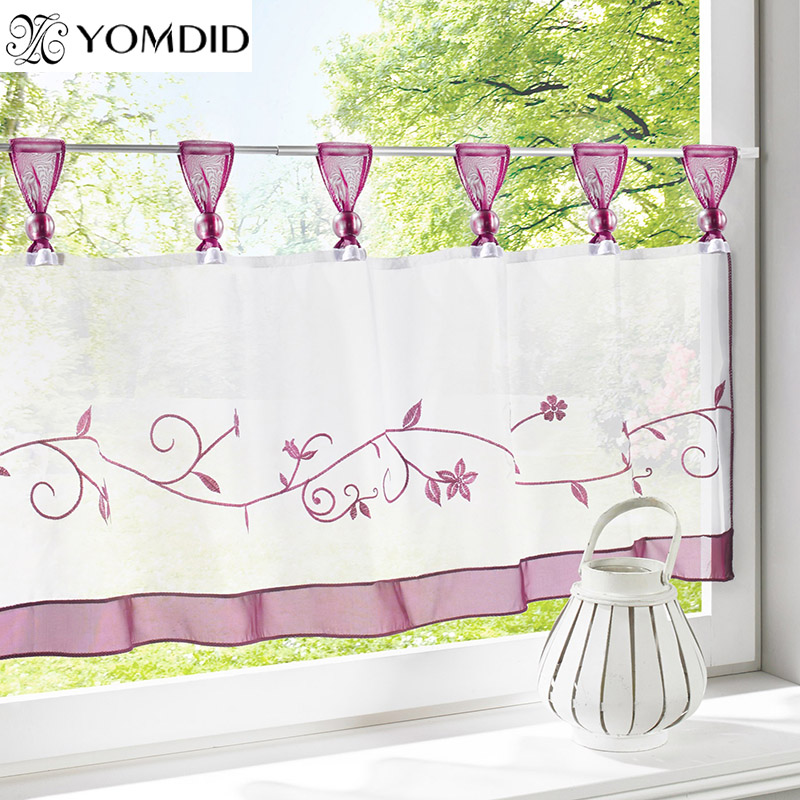 New arrival curtains <font><b>table</b></font> top Embroidery kitchen Half-curtain roman <font><b>coffee</b></font> tulle window decoration short curtains For Kitchen image