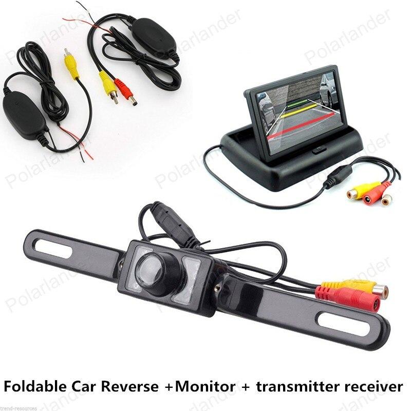 new car 4.3 Inch Foldable TFT LCD Car Reverse Rear View Monitor night vision add CCD Car Camera