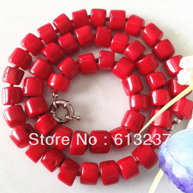 Romántico Mar Rojo Coral Natural 8-10mm Irregular Ábaco Rondelle Forma de Bolas Collar de Cadena de Joyería De Las Mujeres Biy 20.5 pulgadas MY4661