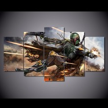 5 Pieces Star Wars Warrior Boba Fett Wall Art Picture Home Decoration Living Room Canvas Print Printing On