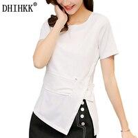 DHIHKK Women Blouses Short Sleevele White Shirt OL Elegant Slim Fit Shirts Sashes Side Open