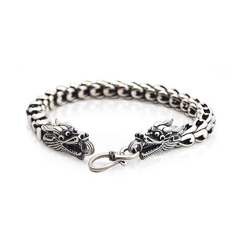 solid sterling silver bracelet for men cool dragon head men bracelet jewelry