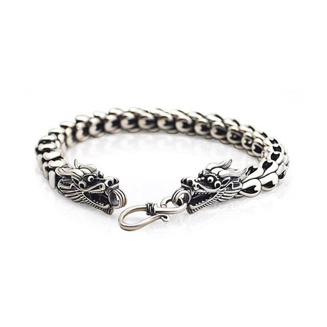 solid 925 sterling silver men bracelet,Chinese dragon heads with S shaped hook,Thai silver finish bangle for men jewelry fashion