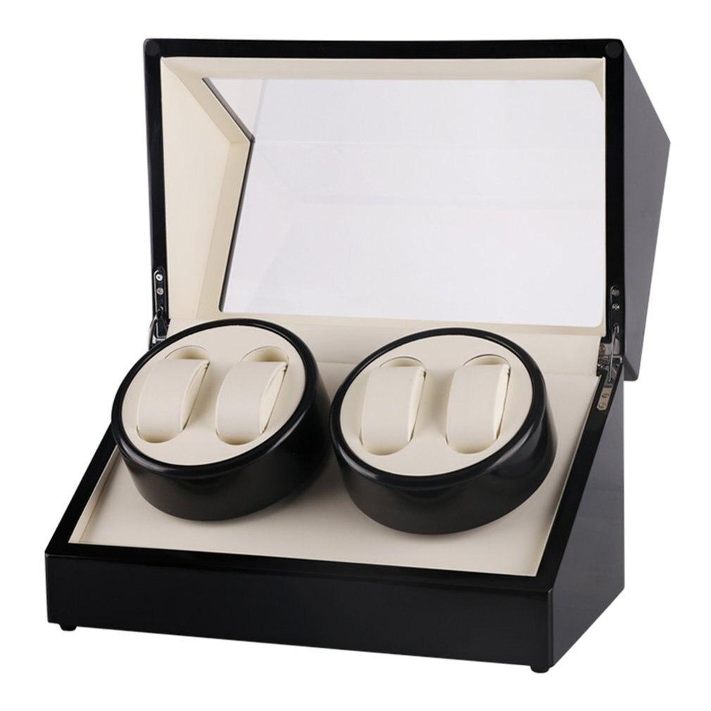 Global 4 Slots Wood watch winder Clock Casket Watch Winder Box Lacquer Rotate Slient Motor Display Clock Winder Watch Case TOP все цены