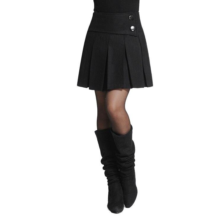 Women Autumn and Winter Woolen High Waist Pleated Skirt Boots ...