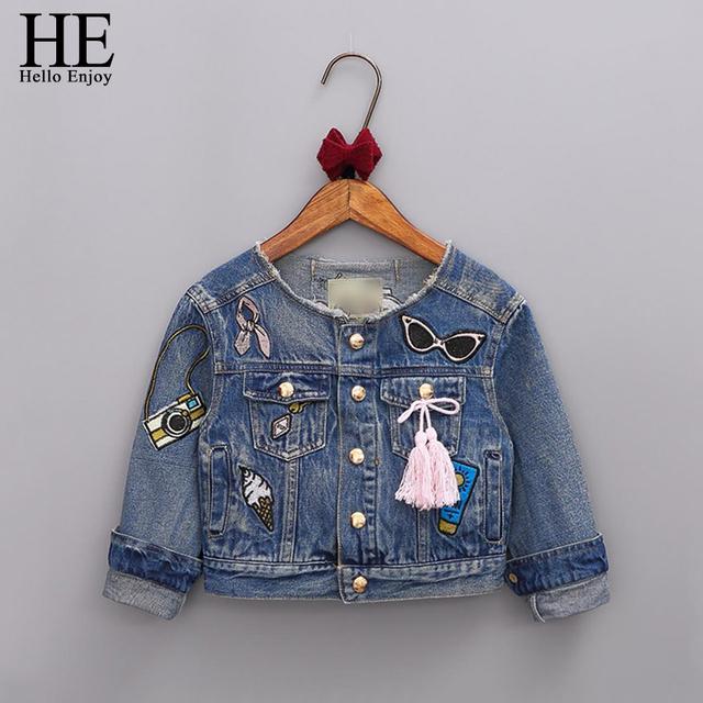 ELE Olá Desfrutar de Meninas Roupas 2016 meninas outono casaco crianças jaquetas de mangas Compridas Denim bordado do revestimento do revestimento roupa da menina