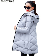 High Quality 2017Women Winter Coat Hooded Plus Size Medium Style Eiderdown Cotton Parka Female Thickening Warm Jacket Coat Q762