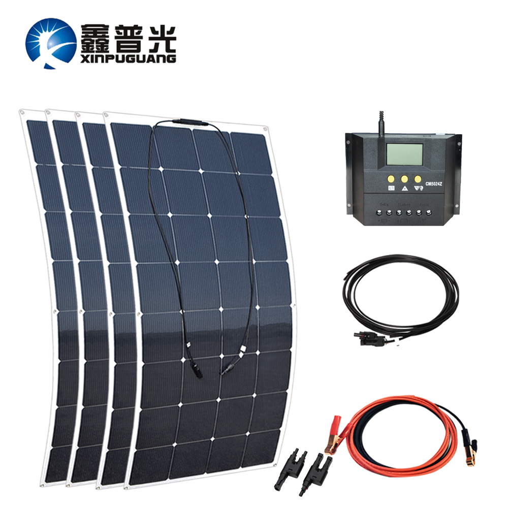 640w solar system kit 160w flexible soalr panel PV module 50A controller cable MC4 connector 12v battery car RV yacht charge