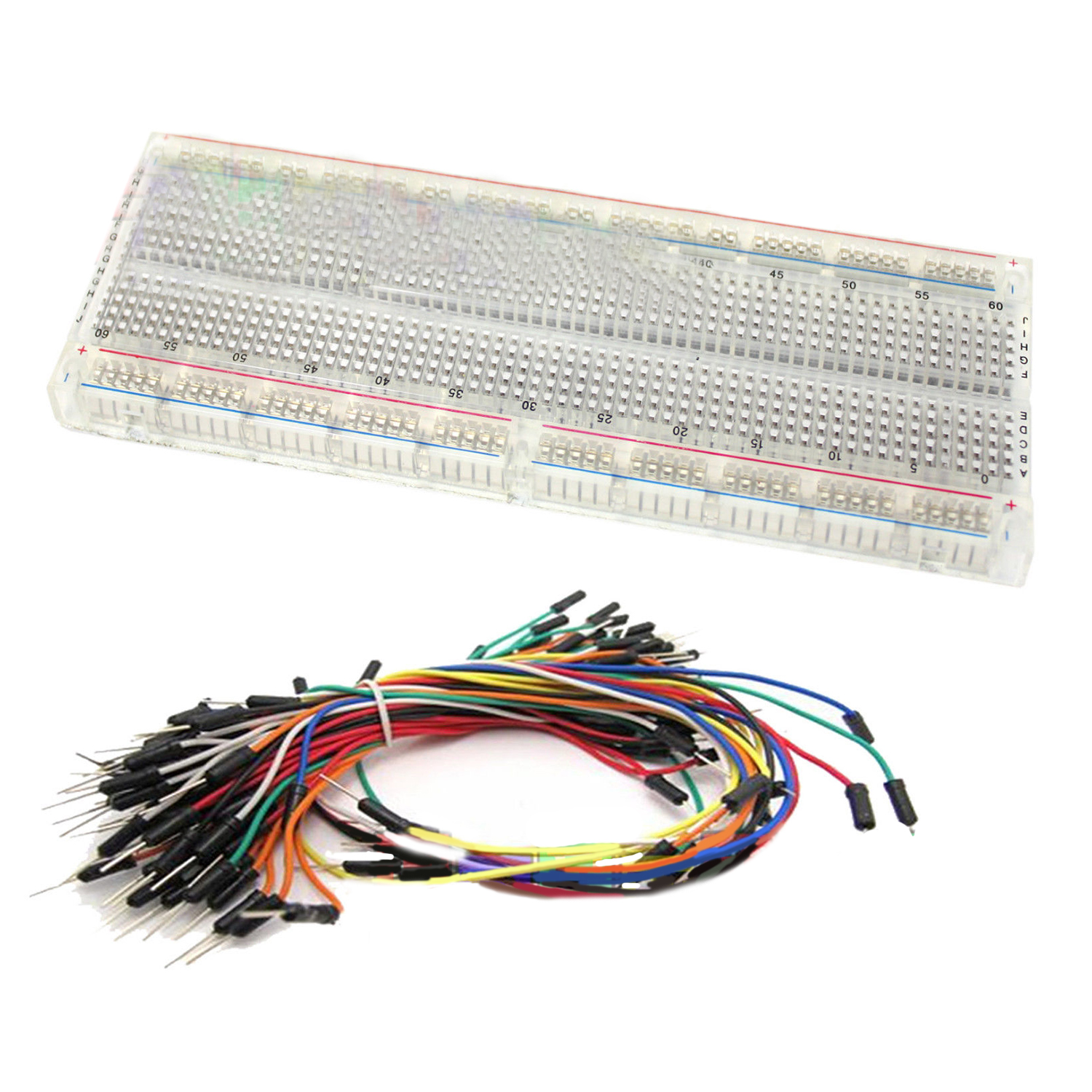 Clear MB-102 830 Point Testing PCB Breadboard + 65 Jump Cable Wires plastic solderless breadboard 840 tie point pcb panel 175 x 67 x 8mm