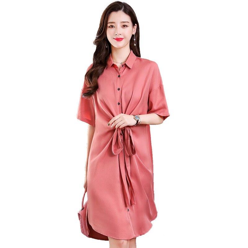 Vestidos de cor sólida solta 2019 verão mid-rise moda confortável simples Vestido de camisa de manga curta turn-down collar vestidos sexy