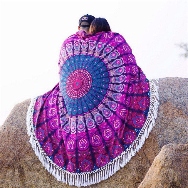 Printed Round Beach Mats With Tassel Circle Serviette De Plage Reactive Printing Tapestry Blankets For Beach Travel