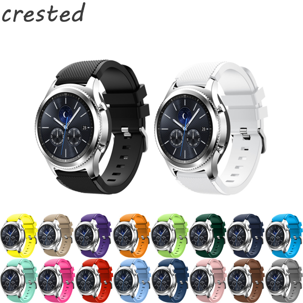 CRESTED 22mm Sports Silicone Watch band For Samsung Gear S3 Frontier/Classic strap Fashion rubber wristband with metal buckle 22mm sports silicone strap for samsung gear s3 frontier band for gear s3 classic rubber watchband replacement wristband