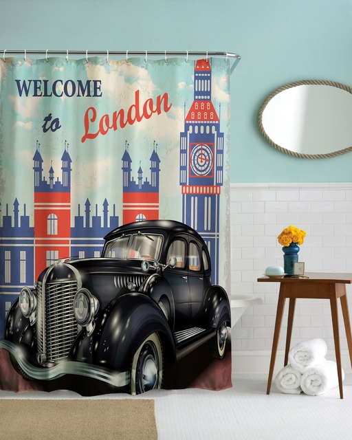 3D London Vintage Car Shower Curtains Waterproof Bathroom Fabric ...