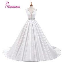 Vestido De Noivas White Satin Strapless Wedding dress 2018 Simple Dress With Beading Belt Sexy Deep V Neck Elegant Wedding Gowns