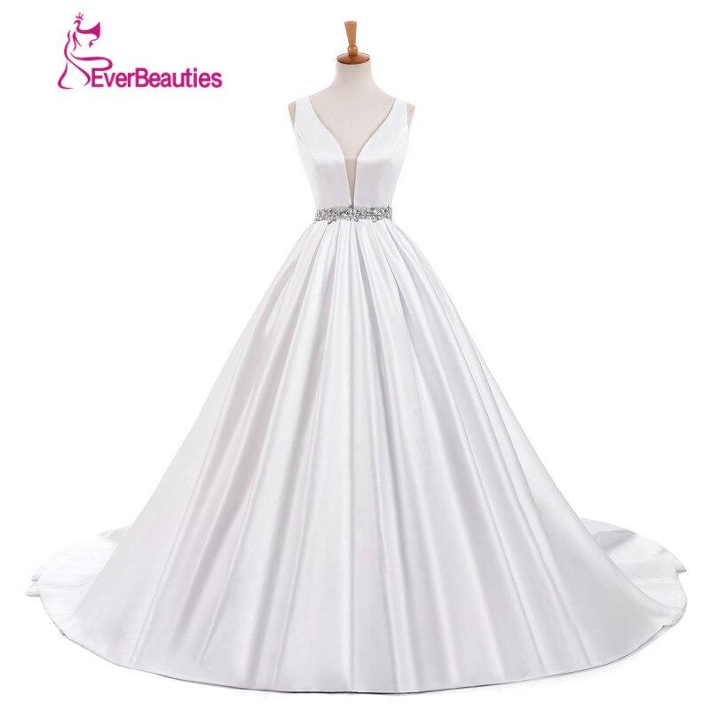 White Satin Strapless Wedding Dress 2017 Simple Dress With Beading Belt Sexy Deep V Neck Elegant
