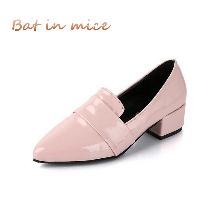 women single shoes Pointed toe pink lady loafers casual shoes women PU leather Thick Heel Ladies Single black red shoes C051