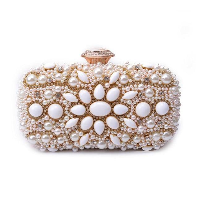 2017 Women Bead Clutch Vintage Stone Evening Bags Elegant Bridal Wedding Bag Party Evening Purse Crystal Diamond Day Clutch