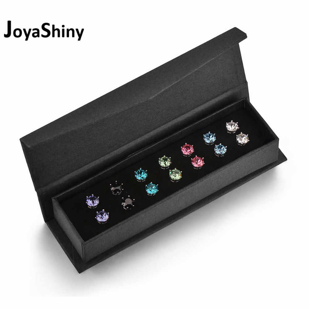 Joyashiny 7Pairs/Set Crystals From Swarovski Stud Earrings 7 Colors Weekly Jewelry For Women Girls Silver Color Round Piercing