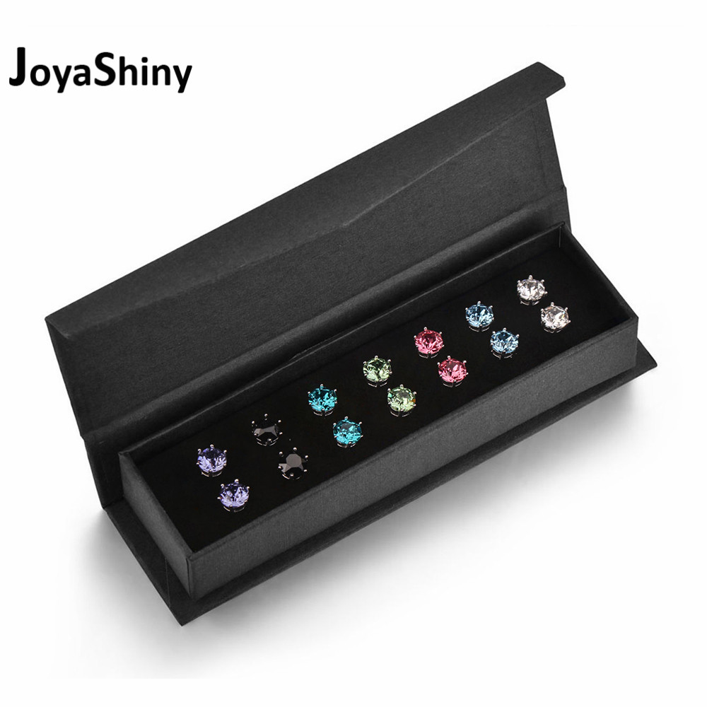 Joyashiny 7Pairs/Set Crystals From Swarovski Stud Earrings 7 Colors Weekly Jewelry For Women Girls Silver Color Round Piercing joyashiny made with swarovski element crystals angel pendant necklace cute silver color wing jewelry chic gifts for kids girls