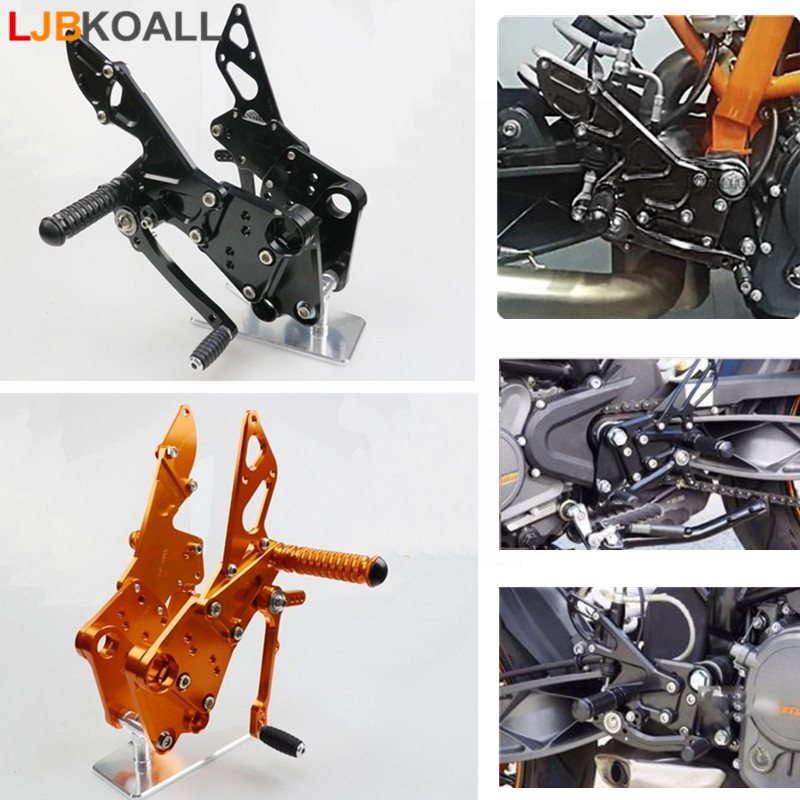 2Pc Motorcycle Rear Passenger Footrest Foot Pedal Rider Foot Pegs&Bracket For KTM Duke 125 200 390 2011 2012 2013 2014 2015 2016 cnc racing rearset adjustable rear sets foot pegs fit for ktm duke 125 200 390 2012 2013 2014 2015 2016 black
