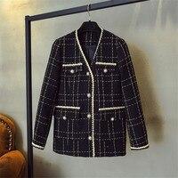 Luxury Designer Brand Wool Blends Coat for Women Fashion Vintage V Neck Plaid Wide Waisted Tweed Coat Black