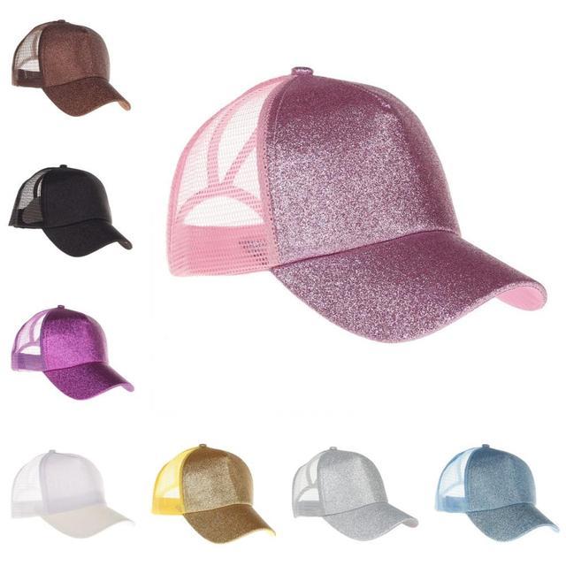 Gorra de béisbol de cola de caballo con purpurina, sombrero de cola de caballo, sombreros de malla de verano con lentejuelas para mujer