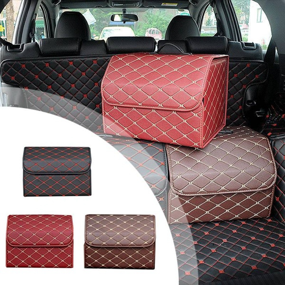 Car Leather Collapsible Trunk Storage Box