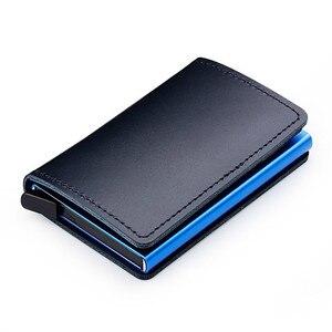 SXME rfid-замок, держатель для кредитных карт из 100% кожи, Мужская алюминиевая папка для визиток, многофункциональный ультратонкий мини-кошелек