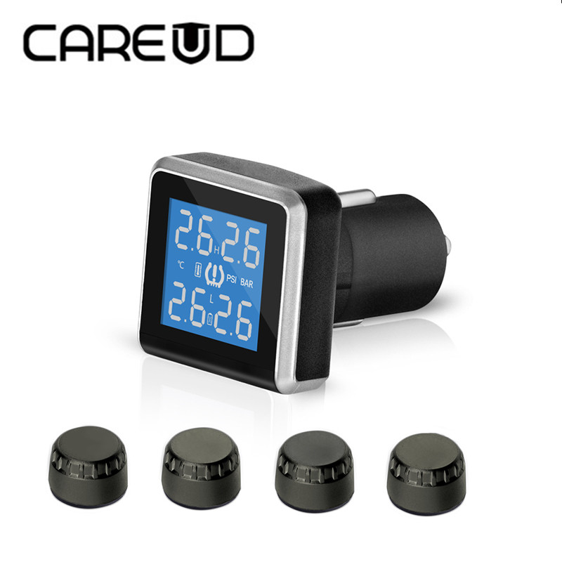CAREUD Cigarette Lighter TPMS Car Wireless Auto Alarm Tire Pressure Monitoring System LCD Display 4 External or Internal Sensors car tpms tire pressure wireless monitoring temperature system psi bar usb alarm 4 external sensors auto tire pressure alarm lcd