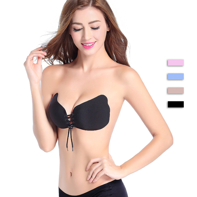 91ab4531de Super Breathable Self Adhesive Strapless Bandage Stick Butterfly Wing Bra  Silicone Push Up Bra Drawstring Invisible Bra