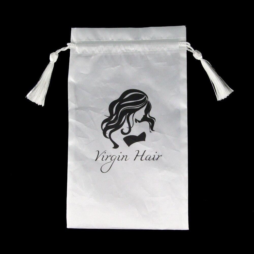 Купить с кэшбэком 5pcs White Virgin Hair Packaging Bag with Drawstring, Hair Extension Bundles Satin Bag with Tassel