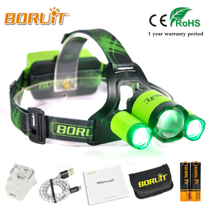 BORUIT 4000LM XML L2 XPE Headlight Green/Red/Blue/White LED Headlamp Rechargeable Flashlight for Fishing Hunting 18650 battery 3x xm l l2 8000 lm rechargeable headlamp outdoor headlight linterna frontal for hunting 18650 battery charger usb cable