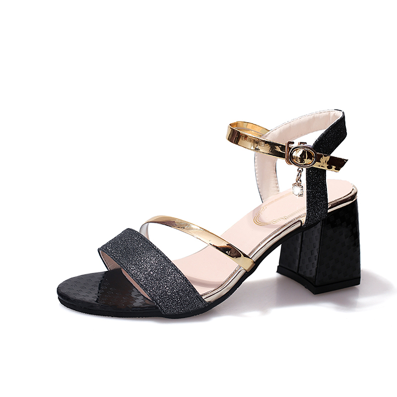 044ff3e7ce59 Lucyever Woman Sandals 2018 Summer Women Open Toe Square High Heel Shoes  Elegant Bling Ankle Strap Party Pumps Gold Silver Black - aliexpress.com -  imall. ...