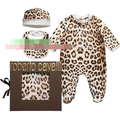 Baby girl conjoined long-sleeve romper leopard outfit clothing 3 PCS set baby cotton jumpsuit no box wholesale