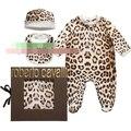 Menina conjoined romper da longo-luva do leopardo roupas roupa do bebê 3 PCS set do bebê do algodão macacão sem caixa de atacado