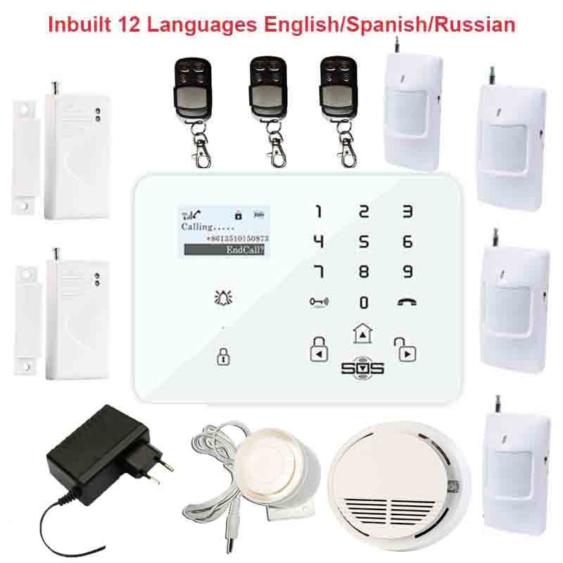 GSM Alarm System Android IOS APP Wireless Touch Keypads Smart GSM SMS Home Security Burglar Alarme Smoke Detector Control K9P fuers smart app control wireless wired home gsm sms security alarm system auto dial with infrared detector door open reminder