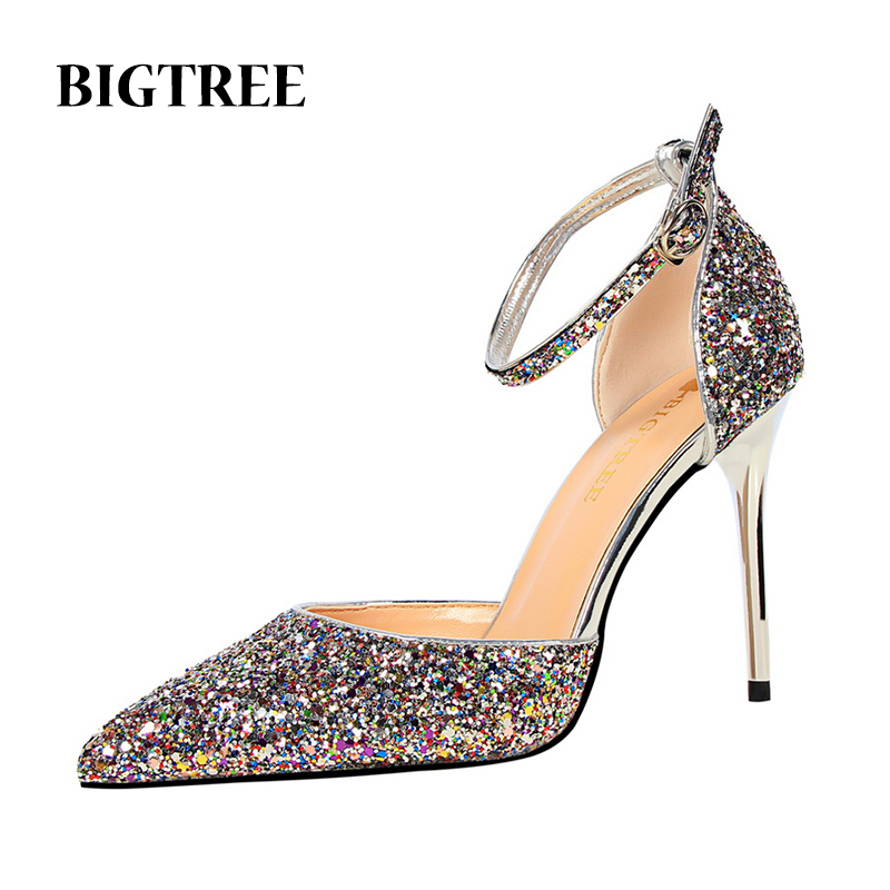 Women Shoes Bling Sexy Nightclub High Heels Pointed Toe Sequined Cloth Wedding Party Pumps Woman