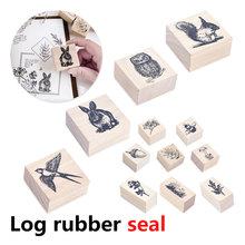 1PC  for Scrapbooking Painting Cards Decor Stylish Vintage Cute Animal Plants Wooden Rubber Stamp DIY Craft