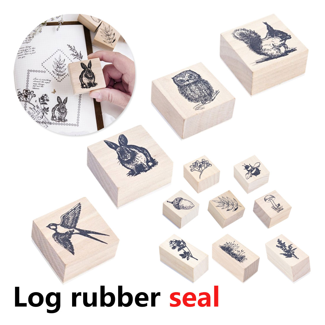 Stylish Vintage Cute Animal Plants Wooden Rubber Stamp 1PC  for Scrapbooking Painting Cards Decor DIY Craft