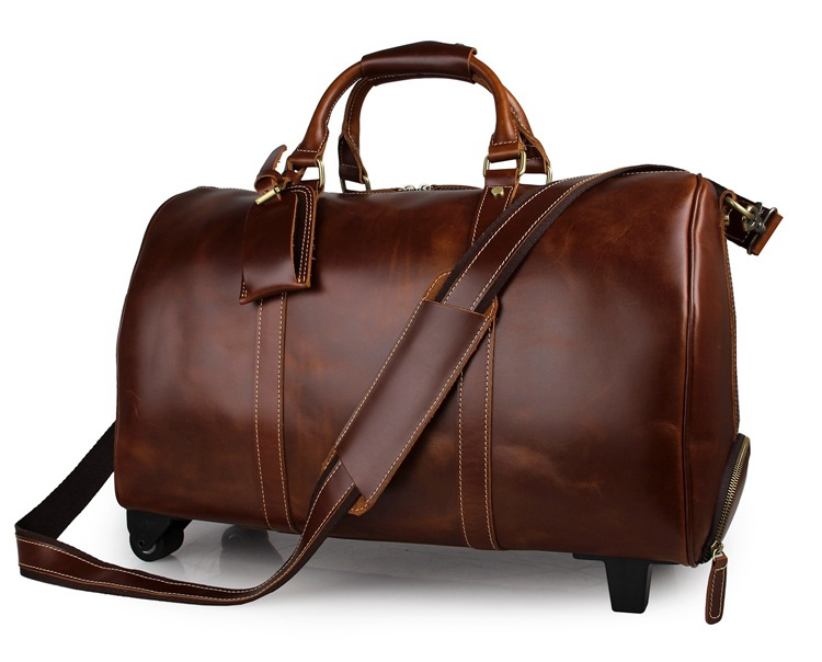 J.M.D High Quality Genuine Cow Leather Luggage Unique Tote Large Capacity Wheel Travel Trolley Bags Cassic Travel Duffel 7077LB genuine leather men travel bags carry on luggage bags men duffel bags travel tote large weekend bag overnight